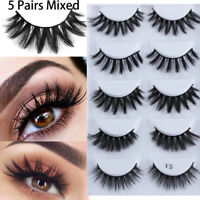 5 Pairs SK Mixed Cross Long 3D Mink Hair False Eyelashes Flutter Wispy Lashes--