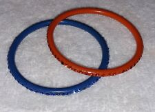 2 VINTAGE CHILD'S GIRL'S CELLULOID RHINESTONE BANGLE BRACELETS - RED BLUE