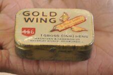 Vintage Gold Wing 456 Brand Pen Nib Ad Litho Tin Box