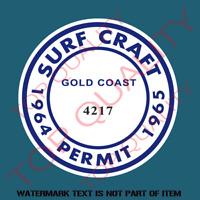 SURF CRAFT PERMIT DECAL STICKER Decal Sticker Man Cave Surf Stickers