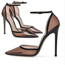 Womens Transparent Pointed Toe Stilettos High Heels Party Ankle Strap Shoes Pump