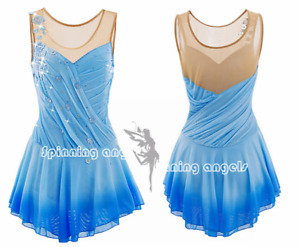 Ice Figure Skating Dress /Rhythmic Gymnastics /Twirling Competition Blue flowers