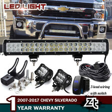 "20"" 126W Led Light Bar Chevy Silverado 2007-17 Front Bull Bar Bumper Grill Guard"