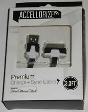 Accellorize Premium  Charge+Sync Cable for iPod,iPhone,iPad- 3.3ft. 30-pin - VGC
