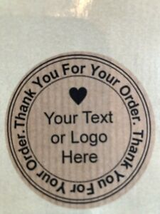 Personalised Thank You For Your Order, Round 51 mm Envelope Stickers, Kraft