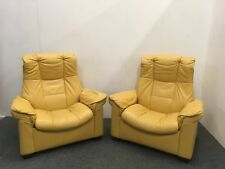 Two Mustard Yellow Leather Stressless Ekornes Reclining Armchairs