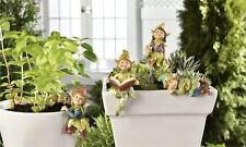 4 PIXIE SHELF POT SITTERS HUGGERS VILLAGE PIXIES GARDEN RESIN size varies  NEW