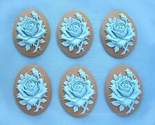6 new Baby Blue Rose on Tan (Robin Egg speckled) color 40mm x 30mm Crafts Cameos