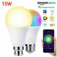 15W B22 Smart Bulb WiFi RGBW/W Lamp APP Control for Alexa Amazon Google Home