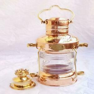 Leeds Burton Nautical Maritime Brass & Copper Anchor Oil Lamp ~ Ship Lantern Col