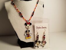 Red, Black, & White Glass Bead Minnie & Mickey Mouse Earrings & Necklace Set