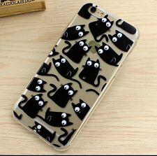 iPhone 6/6s Dibujos  gel silicona transparente Gato Animales Negro 3D Disney