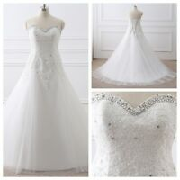 Plue Size A Line In Stock White/Ivory Wedding Dress Bride Gowns US Size 4 6-26W