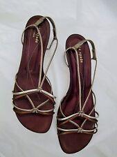 KATE SPADE Gold Metallic Bronze SIlver Strappy Sandals Kitten Heels Sz 9 US 39 M