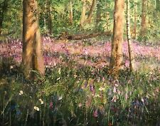 "NEW DAVID ALDUS ORIGINAL ""Bluebells and Wild Flowers"" Forest flower OIL PAINTING"