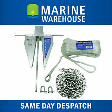Sand Anchor Kit 4LB -  Galvanised 1.8KG W/ Chain D Shackles & Silver Rope 106030