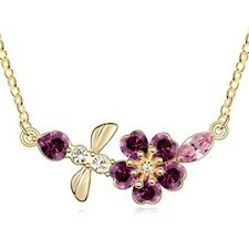 18K Gold GP Made With Swarovski Element Crystal Butterfly&Flower Necklace Purple