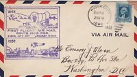 U.S. Airmail First Flight Sioux City Wagon&Town Slogan 1932 Stamp Cover Rf 48489