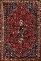 Vintage Abadeh Geometric Traditional Area Rug Hand-Knotted Tribal Carpet 6x9 RED
