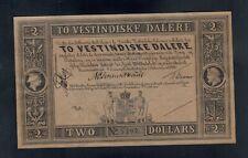 DANISH WEST INDIES  2 DALERE L. 1898   PICK # 8r  UNC.