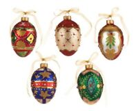 Hand Painted Glass Egg-Shaped 5 Pc Ornament Set In Keepsake Boxes