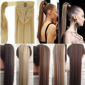 100% Real Natural Human Made Clip In Hair Extension Pony Tail Wrap Ponytail Fh4