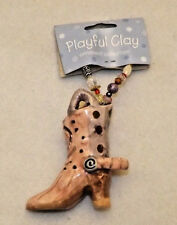 Playful Clay Holiday Ornament Hand Painted Western Cowboy Boot Beaded hanger 2""