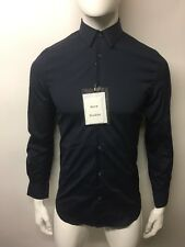 Acne STUDIOS Mario Stretch Camicia Taglia S Eu46 Blu Scuro Slim Fit