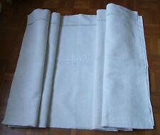 Joli DRAP ANCIEN en LIN brodé main, monogramme KS/2,10 x 3,10 m/NEUF