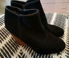 ECOTE Womens Black Leather Western Ankle Boots Timber Wood Shoes Size 10