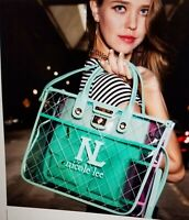 Nicole lee Translucent tote bag  w/pink/blue and aqua accents