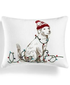 "Martha Stewart Collection Pup in Plaid 16"" x 20"" Decorative Pillow Ivory A03361"