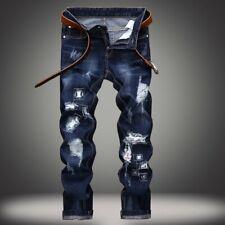 Men's Ripped Skinny Slim Fit Jeans Destroyed Frayed Designed Biker Denim Pants
