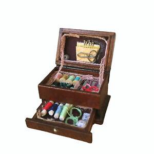 Miniature Hussif Needlework Sewing Box Accessories 1:12 Dollhouse Decor