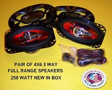 NEW PAIR 3 WAY FULL RANGE 250 WATT 4X6 STEREO RADIO SPEAKERS SHALLOW MOUNT DEPTH