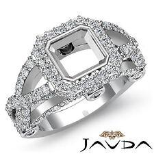 Asscher Semi Mount Diamond Engagement Halo Ring 1.4Ct Platinum 950 Cross Shank