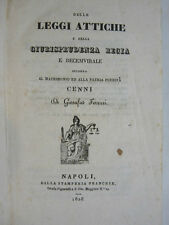 FERRARI GIOSAFAT : LEGGI ATTICHE GIURISPRUDENZA REGIA  - NAPOLI 1828