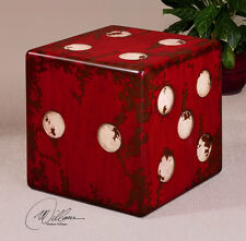Uttermost Game Room Gambling Bar Red Ivory Dice Accent Table Home Office Decor