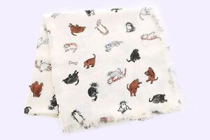 "Louis Vuitton Shawl Scarf Stole Catogram Grace Coddington Cat Silk Wool New 56"""