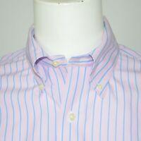 BROOKS BROTHERS Slim Fit Non Iron Cotton Dress Shirt Sz 16 - 34 Pink Blue Stripe
