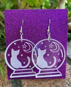 Crystal Ball Acrylic Earrings Cat Moon and Stars