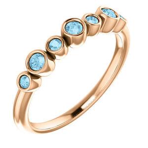 Genuine Aquamarine Bezel Set Ring In 14K Rose Gold