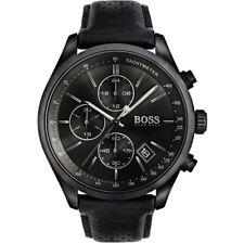 Hugo Boss GRAND PRIX Black Leather Chronograph Classic Design Mens Watch 1513474
