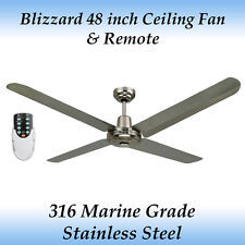 """Blizzard 48"""" 316 Marine Grade Stainless Steel Outdoor Ceiling Fan with Remote"""