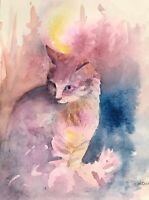 Original painting Cat Kitten Cats art animal Artwork  USA Direct From Artist