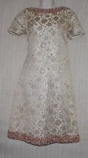 Vintage 1950s Beaded Cream Gold Bamberger's in British Hong Kong Formal Dress:12