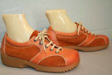 7.5 NOS Vtg 70s RUST SUEDE LEATHER  PLATFORM BALL SOLE BOHO OXFORD TIE SHOE
