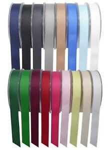 Grosgrain Ribbon Reels Full Rolls 50/20 Meter Plain Width 3-40mm Craft Wrap Gift