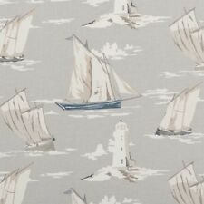 CLARKE AND CLARKE SKIPPER MIST SAILING BOAT LIGHTHOUSE FABRIC