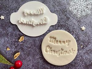 Merry Christmas | Embossing Stamp | ebs221 | Cupcake | Fondant Cake